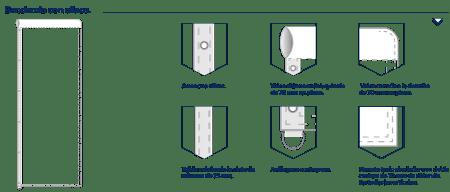 Confeccionada con vaina arriba cerrada a la derecha y abierta a la izquierdo, con cinta de refuerzo y ollaos en el lateral izquierdo para introducri aretes de plástico y anilla abajo para el contrapeso.